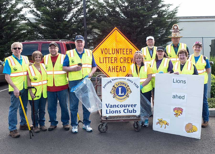 group picture of club members at adopt a road litter patrol