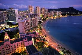 picture of Waikiki at dusk